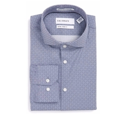 Extra Trim Fit Print Stretch Dress Shirt by Calibrate in The Good Place