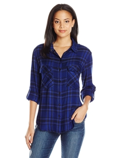Women's Boyfriend Plaid Shirt by Sanctuary Clothing  in The Mick