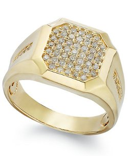 Men's Diamond Cluster Ring by Gento By Effy in Top Five