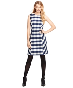 Wool Blend Buffalo Check Sleeveless Dress by Brooks Brothers in Supergirl