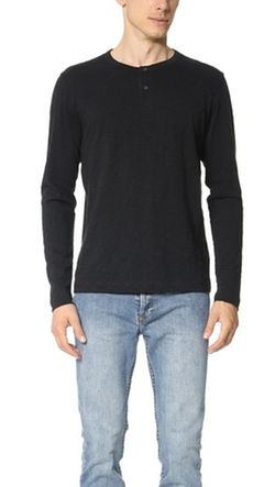 Nebulous Slub Henley Shirt by Theory in The Departed