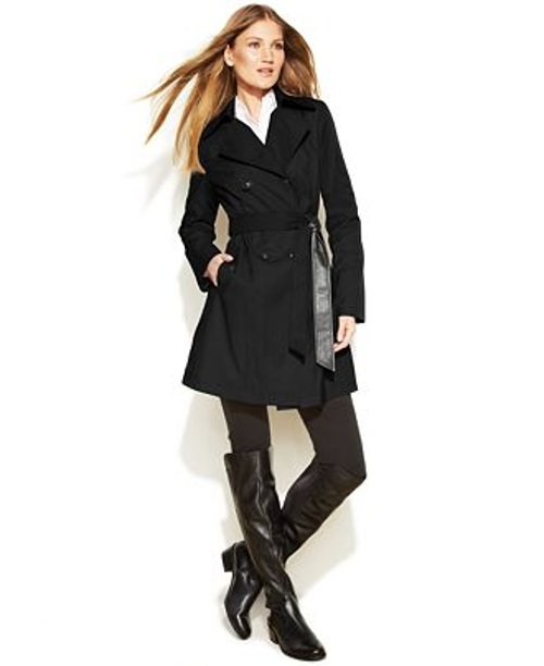 Faux-Leather-Trim Trench Coat by DKNY in Pitch Perfect 2