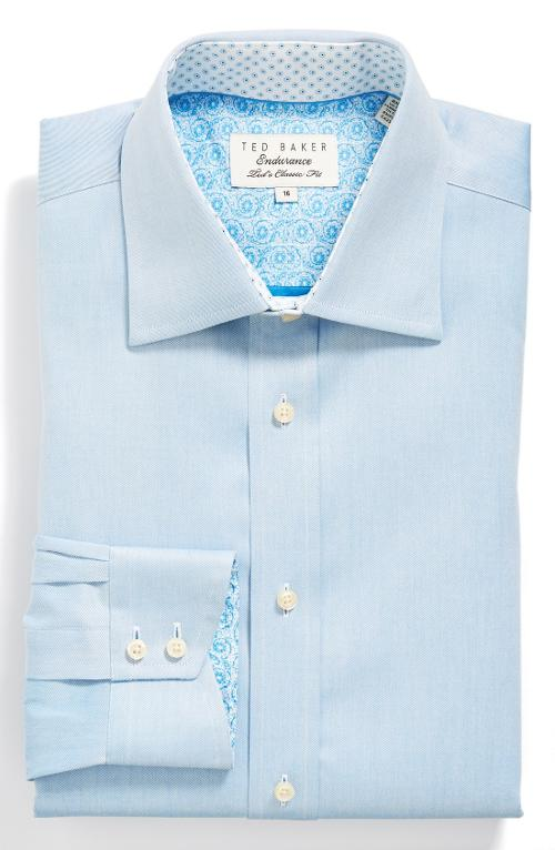 Classic Fit Solid Dress Shirt by Ted Baker London in Unbroken