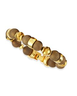 Gold-Plated & Druzy Beaded Bracelet by Jose & Maria Barrera in Drive