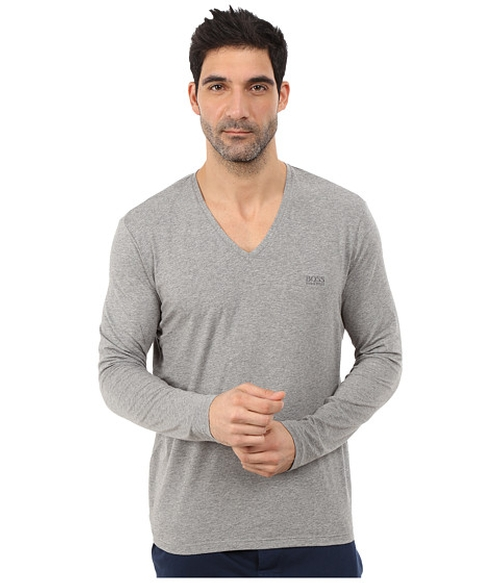 Long Sleeve V-Neck Cotton Stretch Shirt by Boss Hugo Boss in Chelsea