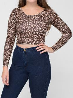 Leopard Print Cotton Spandex Jersey Long Sleeve Crop Top by American Apparel in If I Stay