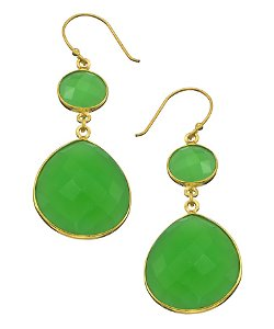 Chrysoprase Double Drop Earrings by Jemma Sands in Black or White