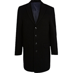 Black Smart Wool-Blend Single Breasted Coat by River Island in Mortdecai
