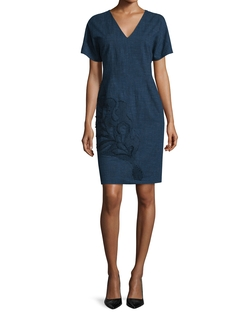Short-Sleeve Embroidered Dress by Josie Natori in Jane the Virgin