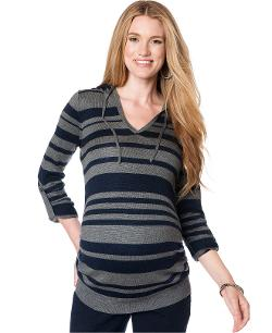 Maternity Tab-Sleeve Hooded Striped Sweater by Motherhood in New Year's Eve