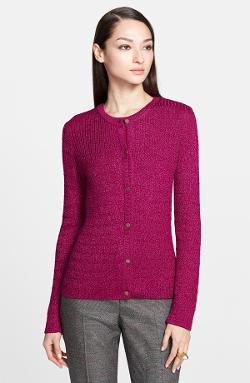 Flecked Cable Rib Knit Cardigan by St. John Yellow Label in Addicted