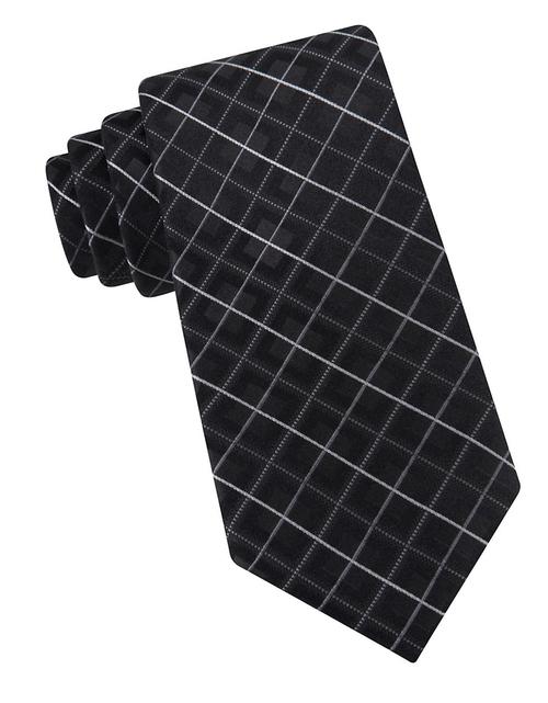 Medici Grid Silk Tie by Michael Kors in The Departed
