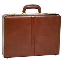 Reagan Leather Attache Case by McKlein USA in Daddy's Home