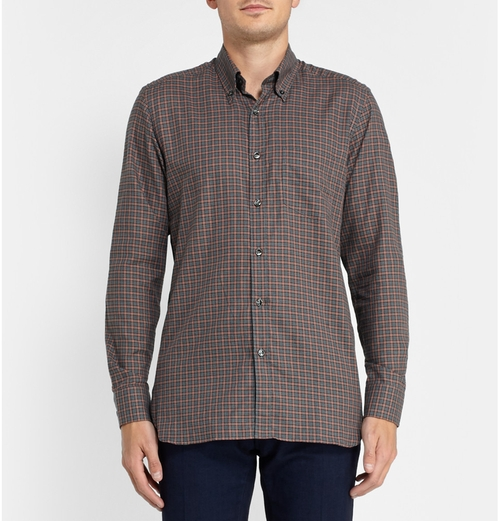 Billy Check Cotton Shirt by Dunhill in The Good Wife