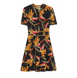Bird Of Paradise Printed Silk Cady Mini Dress by Fendi in Baywatch