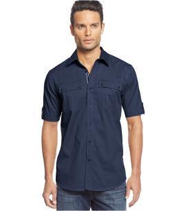 Short Sleeve Twill Shirt by Sean John in Jersey Boys
