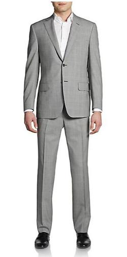 Plaid Wool Classic-Fit Suit by Saks Fifth Avenue BLACK in Yves Saint Laurent