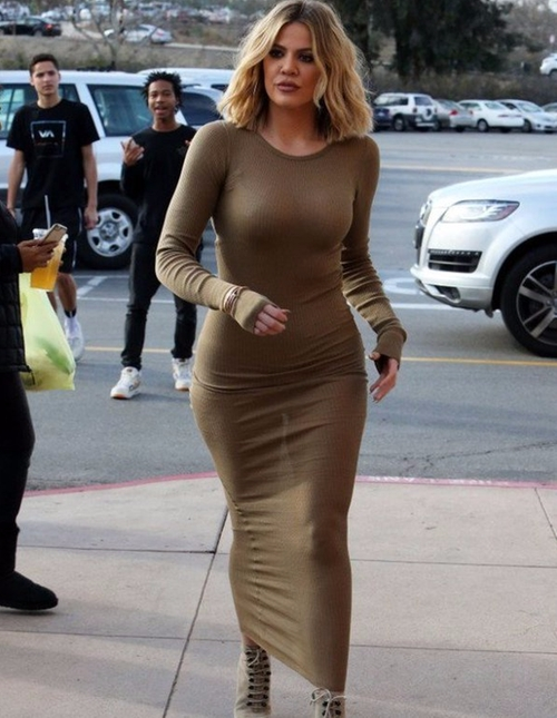 Ribbed Long Sleeve Cotton Dress by Faith Connexion in Keeping Up With The Kardashians - Season 12 Episode 11