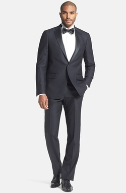 New York Classic Fit Black Wool Tuxedo Suit by Hart Schaffner Marx in Blow