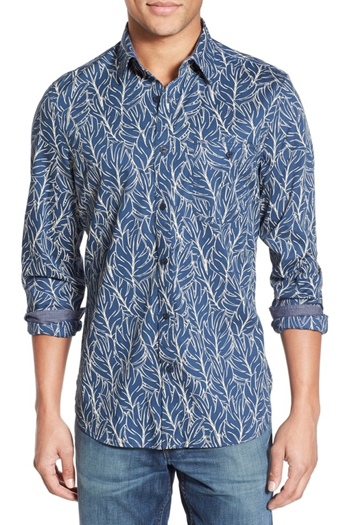 Workwear Trim Fit Leaf Print Sport Shirt by Wallin & Bros. in Blow