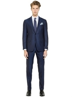 Milano Easy Wool Herringbone Suit by Ermenegildo Zegna in Suits