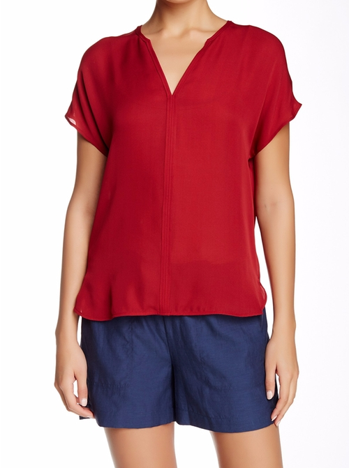 Split Neck Popover Silk Blouse by Vince. in Casual - Season 2 Preview
