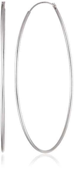 Silver-Tone Large Endless Hoop Earrings by Argento Vivo in Captive