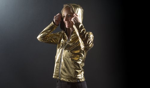 Gold Reversible Disco Hoodie by Betabrand in Pitch Perfect 2