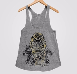Tiger Foil Accent Tri Blend Racerback Tank Top by Couthclothing in Gypsy