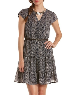Printed Tiered Cap Sleeve Shirt Dress by Charlotte Russe in The Finest Hours