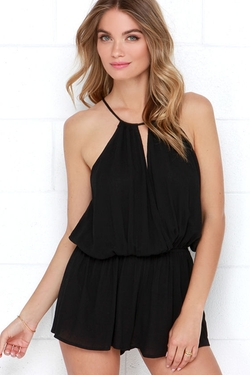 Show Me the Anemone Black Romper by Lulus in Sisters