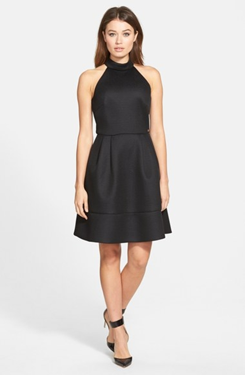 Cutaway Shoulder Techno Mesh Fit & Flare Dress by Pink Tartan in The Gift