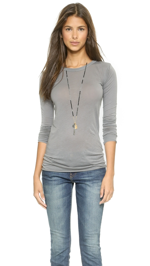 Bold Long Sleeve Crew T-Shirt by Enza Costa in Spy