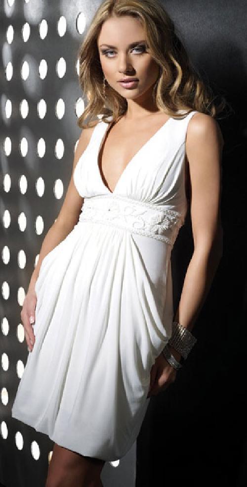 Elegant White Chiffon A-Line V-Neck Long Prom Dress by 200 shop in Blended