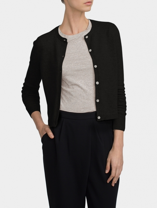 Essential Cashmere Cardigan by White + Warren in Side Effects