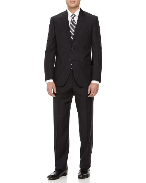Two-Piece Striped Wool Suit, Black by Neiman Marcus in Yves Saint Laurent