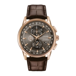 Eco-Drive World Chronograph A-T Watch by Citizen in Rosewood