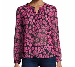 Brooke Floral-Print Chiffon Blouse by Milly in Animal Kingdom