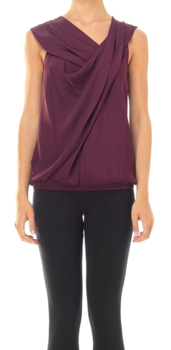 Georgette Twisted Detail Blouse by Leon Max in Rosewood