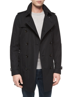 Double-Breasted Long Trenchcoat by Burberry London in Black Mass