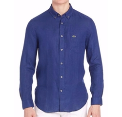 Long Sleeve Solid Linen Shirt by Lacoste in Billions
