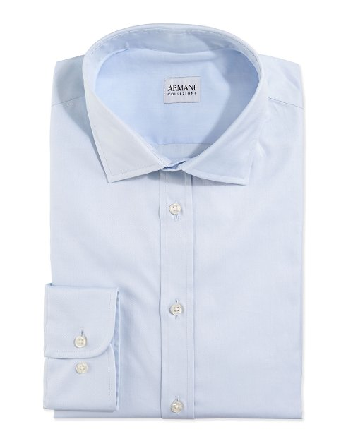 Modern Fit Twill Woven Dress Shirt by Armani Collezioni in The Counselor