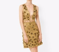 Floral Metallic-Embroidered Brocade Dress by Michael Kors in Empire