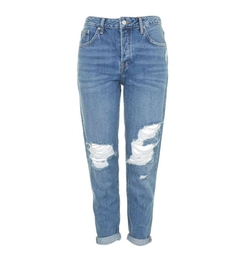 Moto Blue Ripped Hayden Boyfriend Jeans by Topshop in Guilt