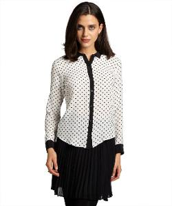 Black And White Polka Dot Silk Long Sleeve Blouse by Wyatt in Addicted