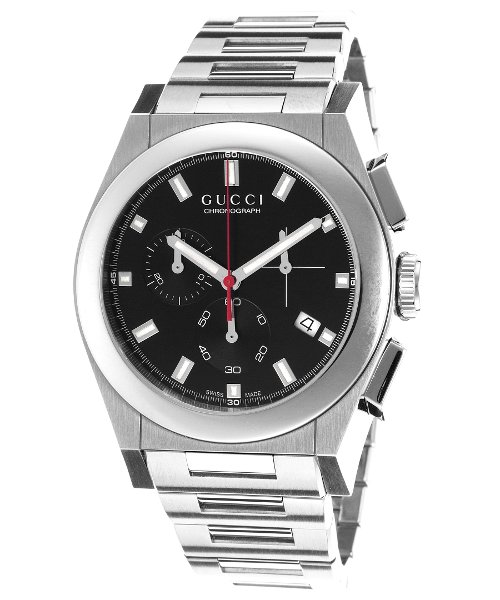 Men's Pantheon Chronograph Stainless Steel Black Dial by Gucci in Couple's Retreat