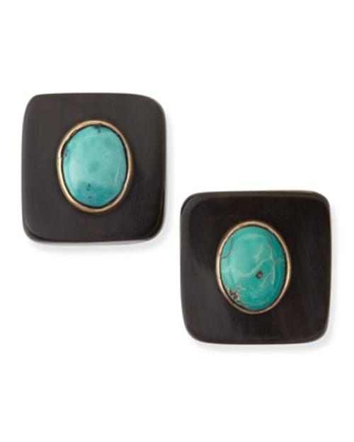 Maji Dark Horn Turquoise Stud Earrings by Ashley Pittman in Yves Saint Laurent