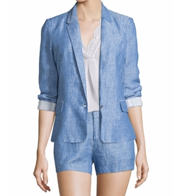 Pernilla Chambray Linen Blazer by Joie in Rosewood