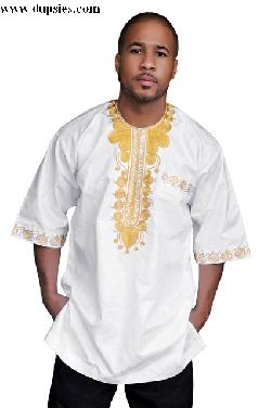 African Brocade Dashiki Shirt with Gold Embroidery by Dupsie's in Blended