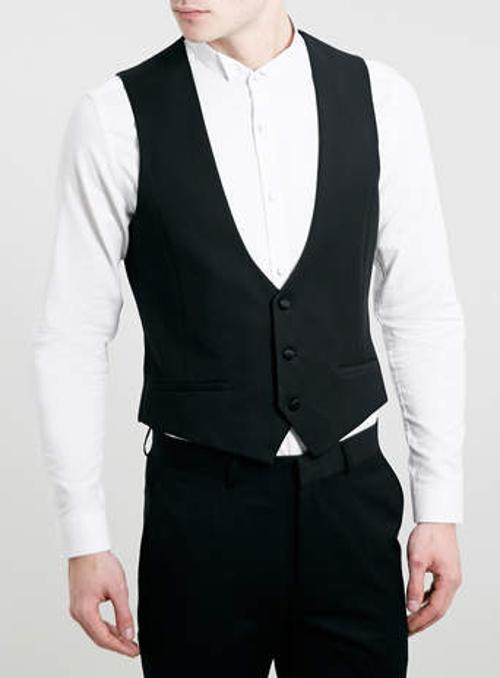 Black Jacquard Tuxedo Vest by Topman in Step Up: All In